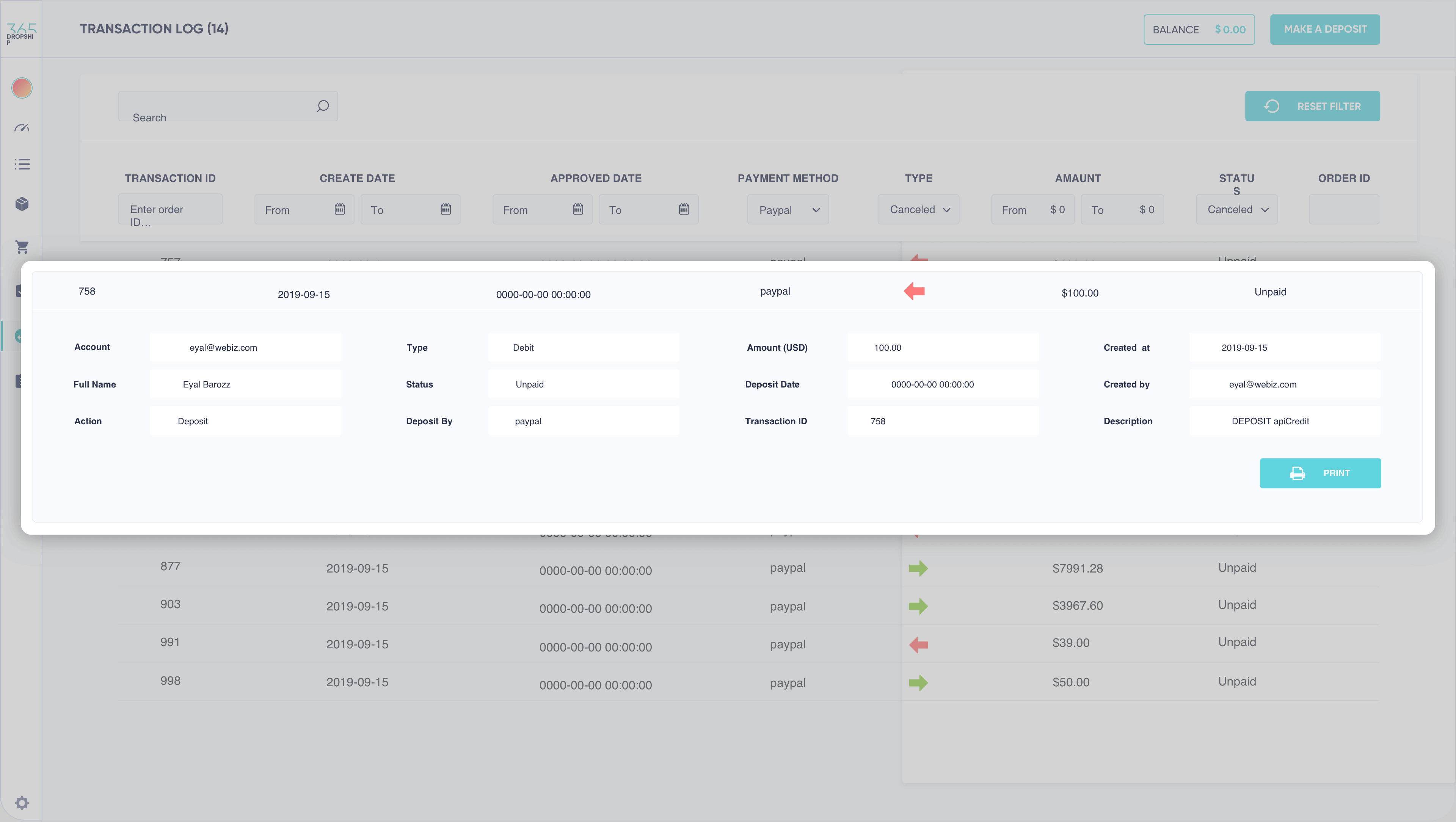 365Dropship platform transaction