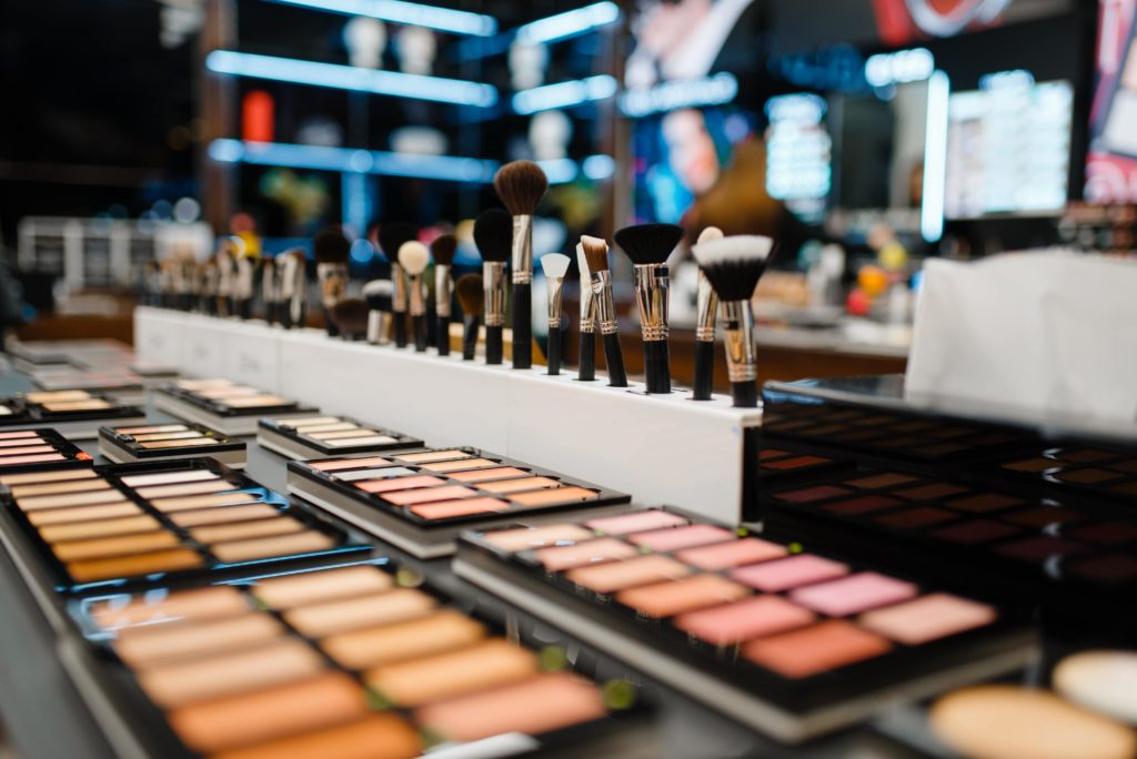 showcase with powders cosmetics